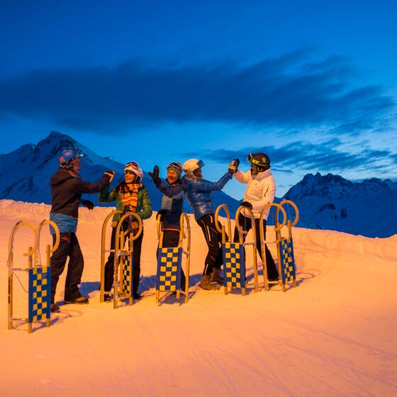 sledging at night in ischgl