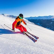 skier on the piste
